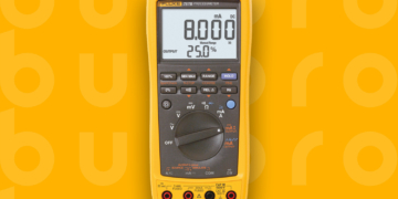 This is the cover photo for our Best Multimeter article. It features a yellow Fluke multimeter overlaid on a yellow poster background with an embossed Burbro logo.