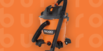 This is the cover photo for our Best Shop Vac article. It features an orange and black RidGid Shop Vac with a hose and nozzle extension overlaying an orange background with an embossed Burbro logo.