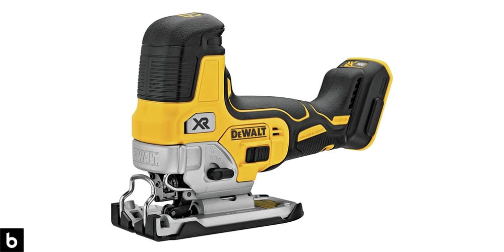 This is a photo of a yellow and black Dewalt Max Barrel Grip Jigsaw overlaid on a minimalistic white background with a Burbro logo.