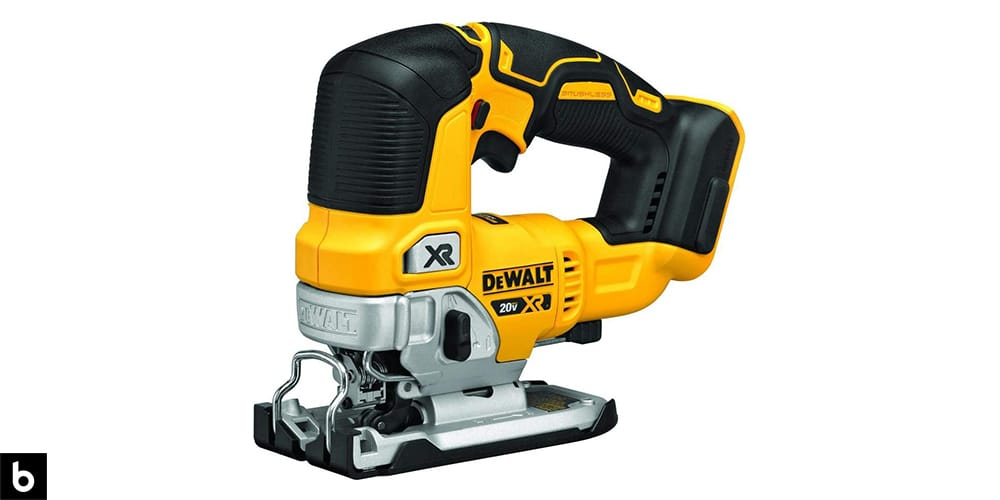 This is a product image in our Best Jigsaw 2021 article. It is a photo of a yellow and black Dewalt 20V Max XR Jig-saw overlaid on a minimalistic white background with a Burbro logo.