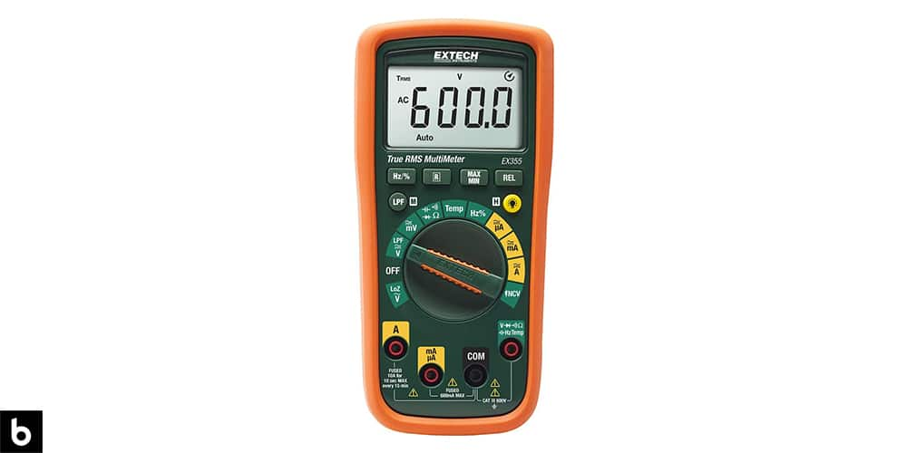 This is a photo of an orange Extech Ex355 Professional Multimeter overlaid on a minimalistic white background with a Burbro logo.