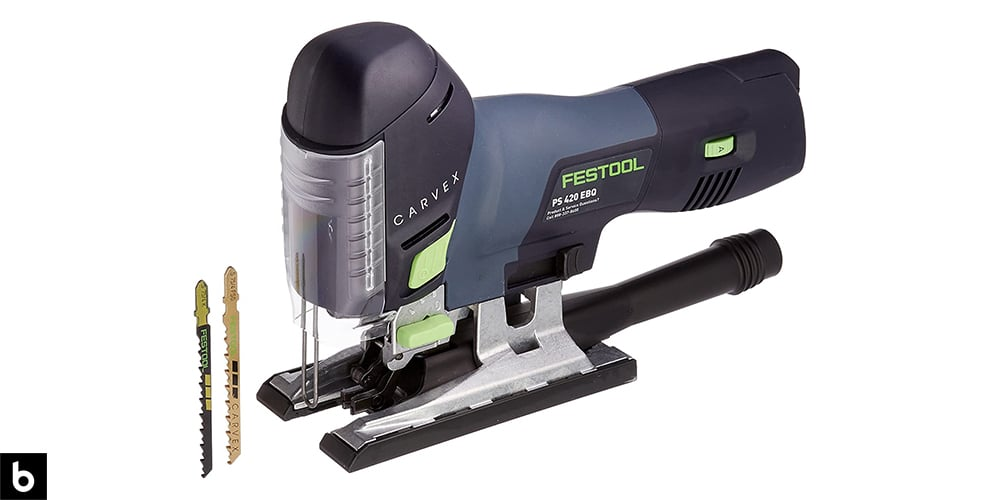 This is a photo of a Festool Carvex PS 420 Jigsaw overlaid on a minimalistic white background with a Burbro logo.