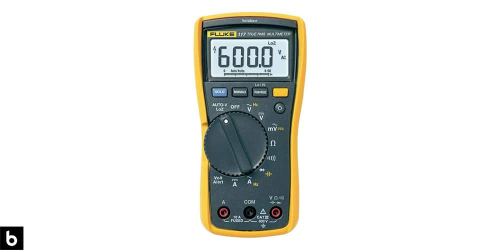 This is a photo of a yellow Fluke 117 True RMS Multimeter overlaid on a minimalistic white background with a Burbro logo.