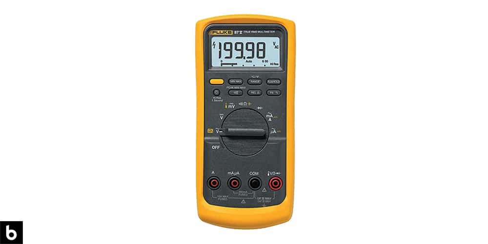 This is a product image in our Best Multimeters in 2021 article. It is a photo of a yellow Fluke 87V DMM multimeter overlaid on a minimalistic white background with a Burbro logo.