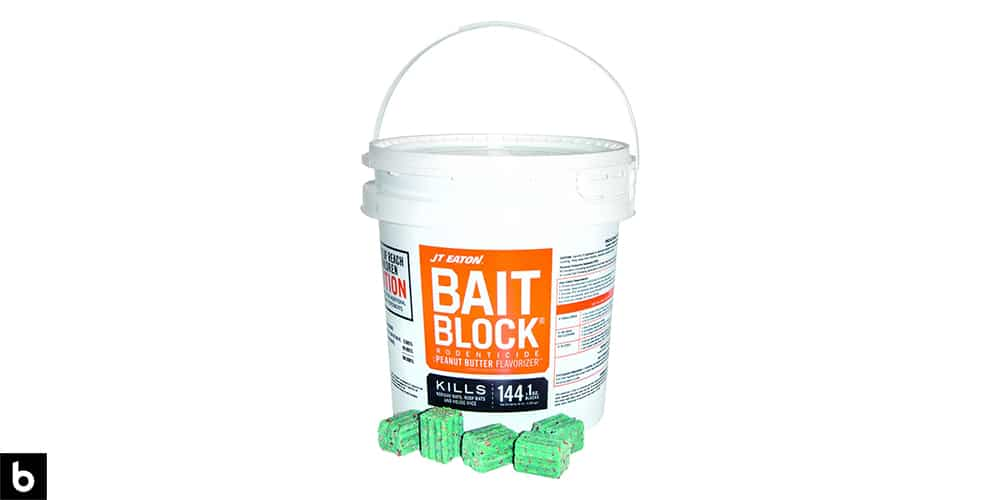 This is a product image in our Best Rat Poison in 2021 article. It is a photo of a bucket of JT Eaton Bait Blocks overlaid on a minimalistic white background with a Burbro logo.