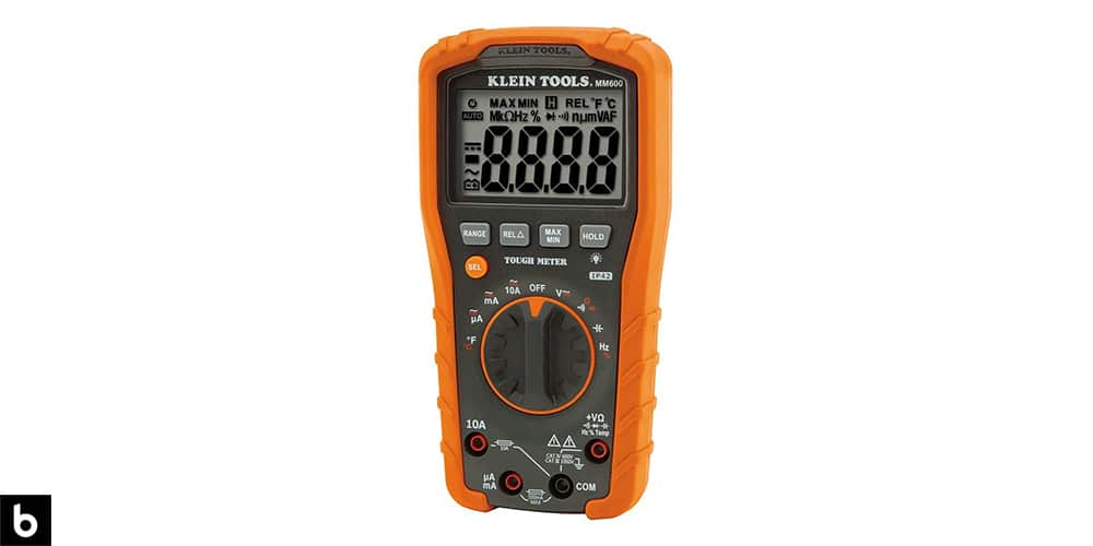 This is a photo of an orange Klein Tools MM600 Multimeter overlaid on a minimalistic white background with a Burbro logo.