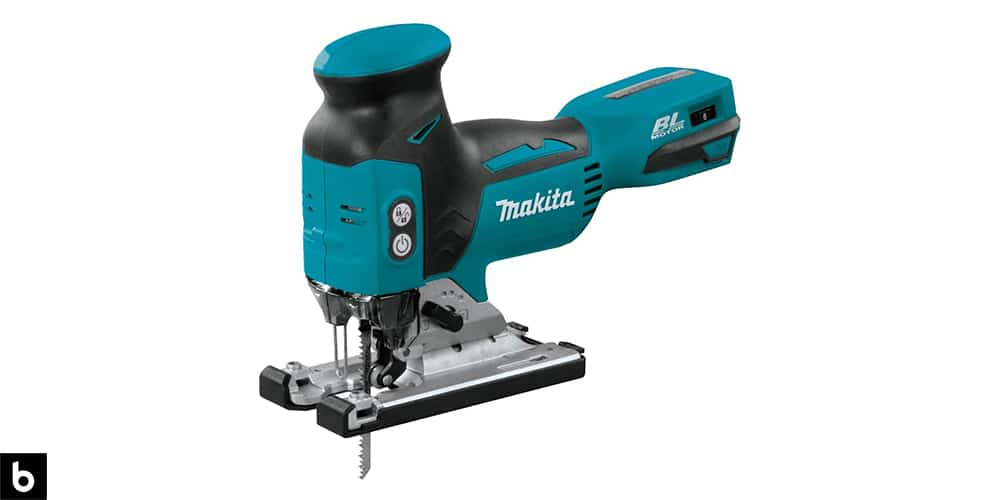 This is a photo of a Makita 18V LXT Brushless Jigsaw overlaid on a minimalistic white background with a Burbro logo.