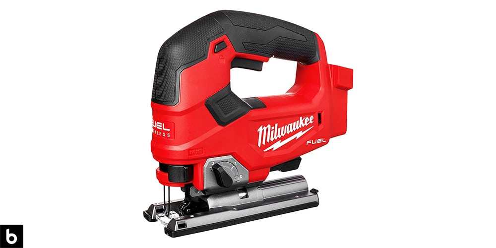 This is a photo of a red and black Milwaukee M18 Fuel Jigsaw overlaid on a minimalistic white background with a Burbro logo.