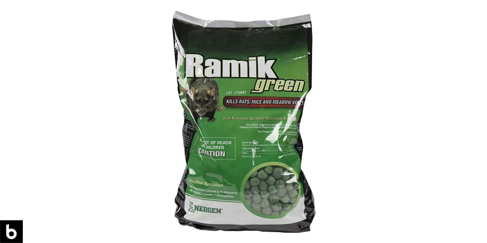 This is a photo of a bag of Neogen Ramik Rodenticide overlaid on a minimalistic white background with a Burbro logo.