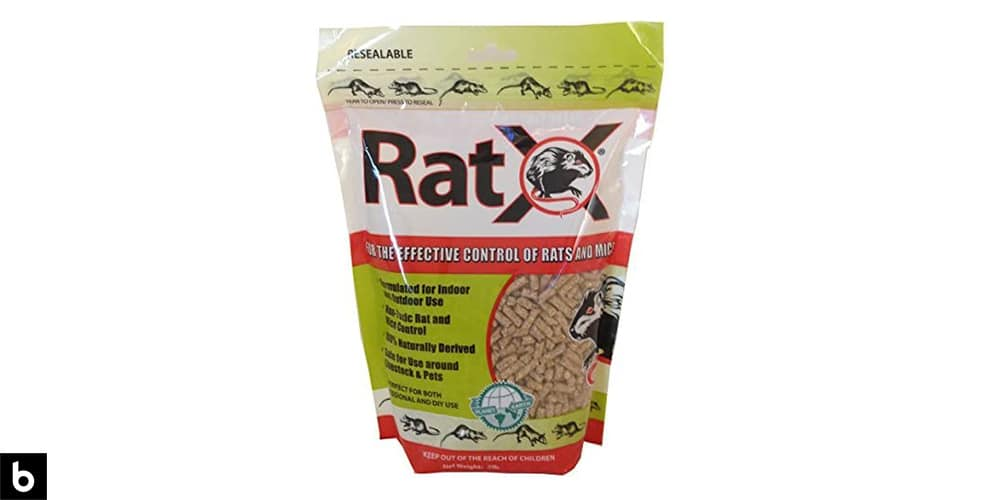 This is a photo of a bag of Eco clear RatX Natural Rat Poison overlaid on a minimalistic white background with a Burbro logo.