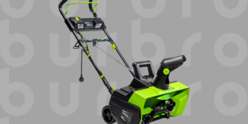 This is the cover photo for our Best Electric Snow Blower article. It shows a lime green and black snowblower overlaid on a grey background with embossed Burbro logo.