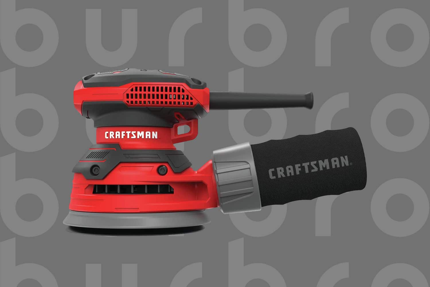 This is the cover photo for our Best Palm Sander article. It features a palm sander overlaid on our Burbro logo print backdrop.