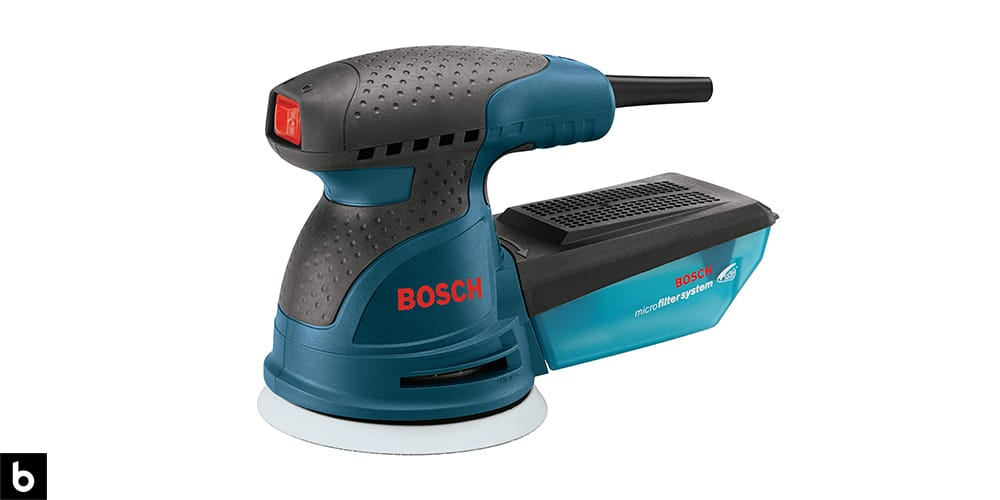 This is a Bosch ROS20VSC Palm Sander overlaid on a white background.