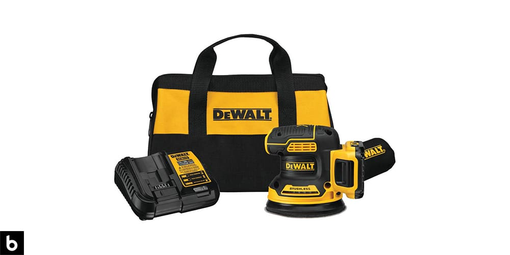 This is a DeWalt 20V MAX Random Orbital Sander. There is a carrying bag and charging station in the photo.