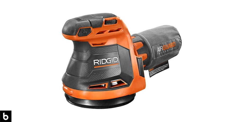 This is a Ridgid 18V Cordless Palm Sander overlaid on a white background with a Burbro logo.