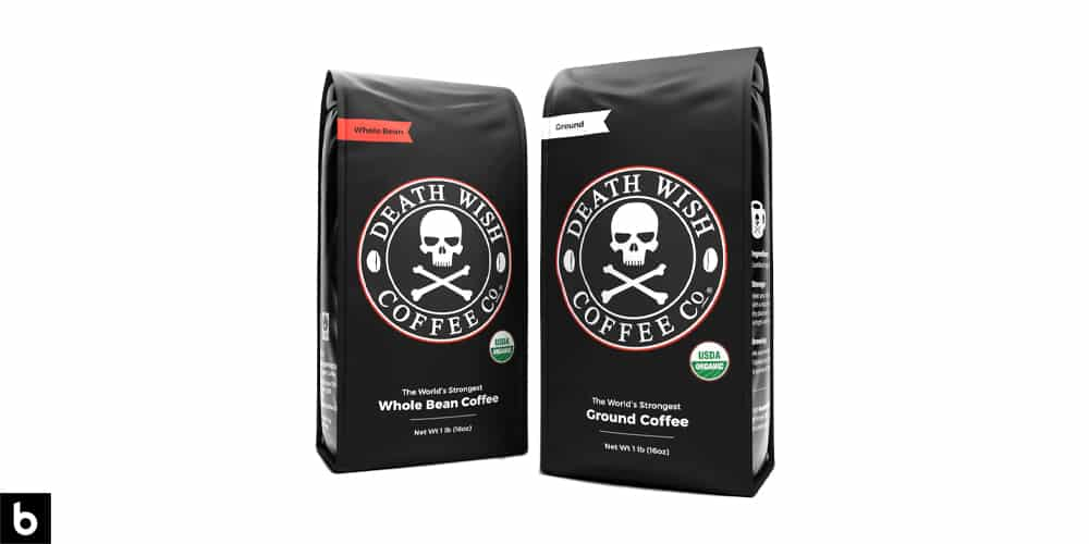 This is a product photo, featuring two black bags of Death Wish Coffee.