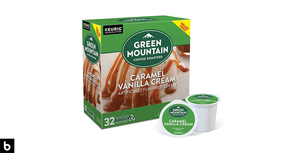 This is a product image, featuring a box of Green Mountain Caramel Vanilla Cream K Cups.