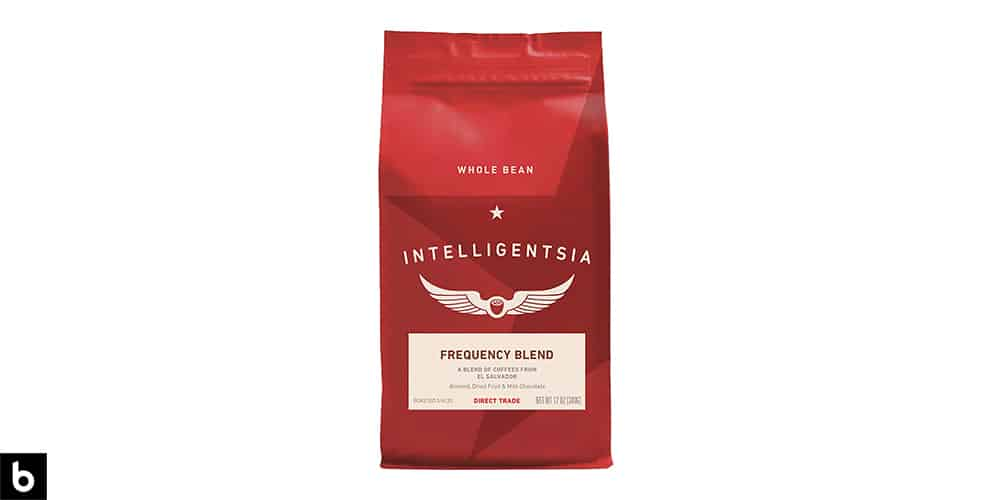 This is a product photo for our Best Coffee Brands 2021 article. It features a red bag of Intelligensia Coffee.