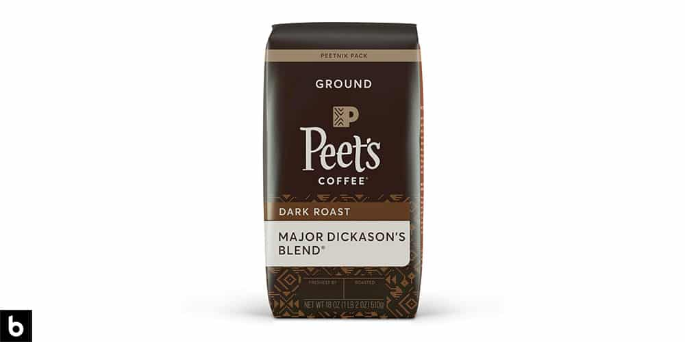 This is a product image, featuring a brown bag of Peet's Coffee Major Dickason's Blend Dark Roast Coffee.