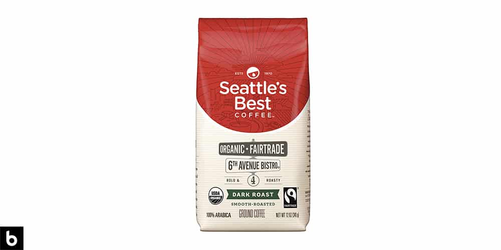This is a product image, featuring a red and cream colored bag of Seattle's Best Organic Fair Trade Dark Roast coffee.