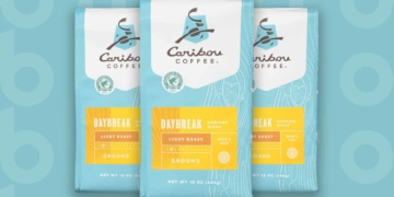 This is the cover photo for our Best Light Roast Coffee article. It features three light blue and yellow bags of light roast coffee overlaid on a blue background with embossed Burbro logo.
