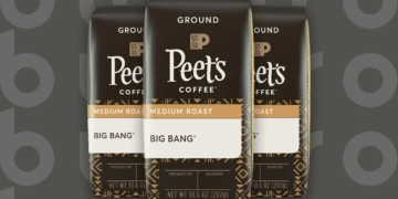 This is the cover photo for our Best Medium Roast Coffee article. It features three bags of Peet's Big Bang Medium Roast coffee overlaid on a chocolate brown background.