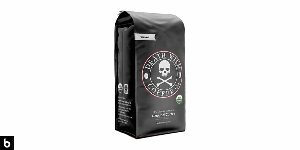 This is a product photo for our Best Strong Coffee 2021 article. It features a black and grey bag of Death Wish Ground Coffee.