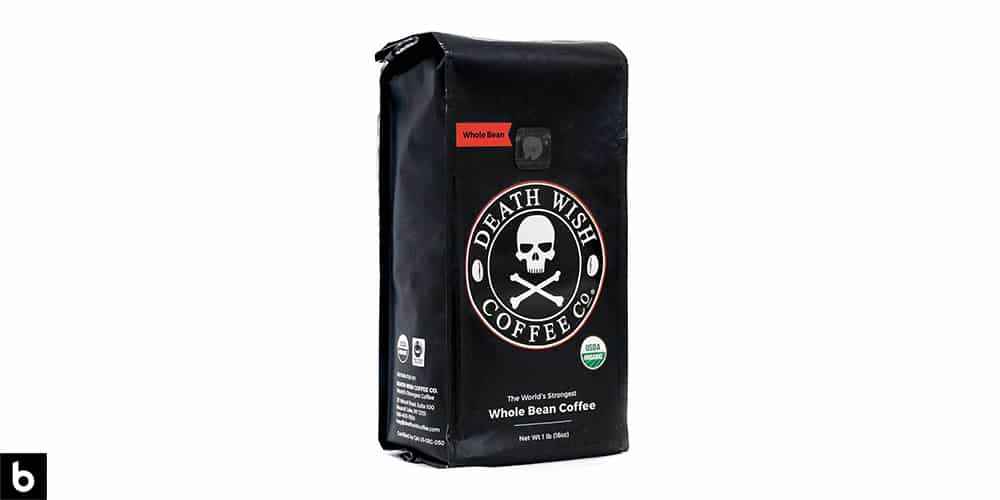 This is a product image, featuring a black bag of Death Wish whole bean coffee.