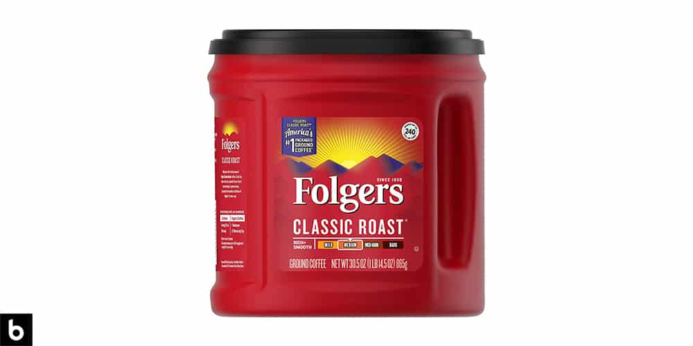This is a product photo, featuring a red can of Folger's Classic Roast coffee.