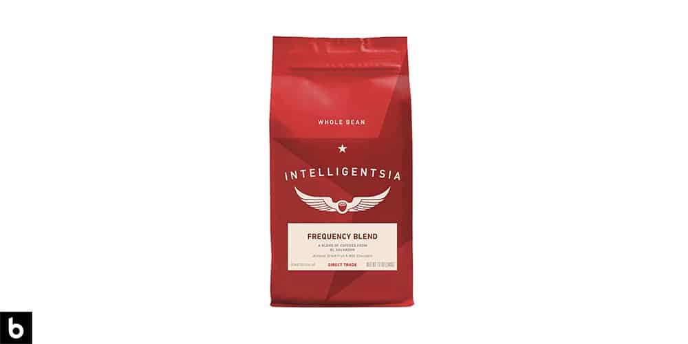 This is a product photo from our Best Coffee Beans 2021 article. it features a red bag of Intelligentsia beans overlaid on a white background.