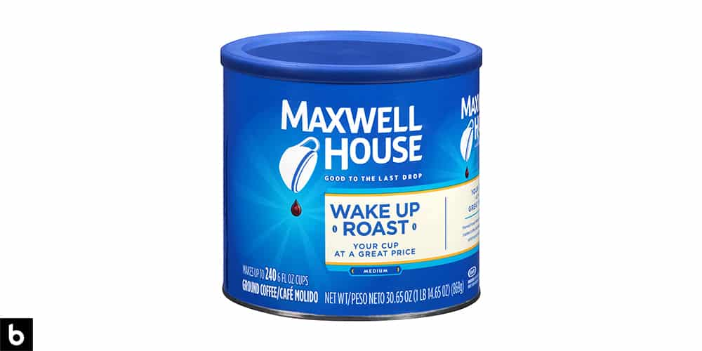 This is a product image, featuring a blue can of Maxwell House Wake Up Roast Medium Roast coffee.
