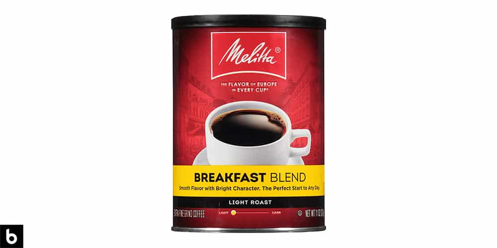 This is a product image, featuring a can of Melita Breakfast Blend Light Roast Coffee.