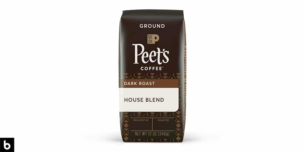 This is a product image of a brown bag of Peet's Dark Roast ground coffee.