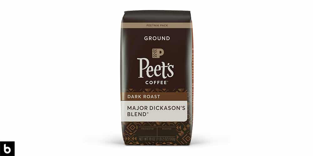 This is a product photo, featuring a brown bag of Peet's Coffee Major Dickason's Blend Dark Roast Ground Coffee.
