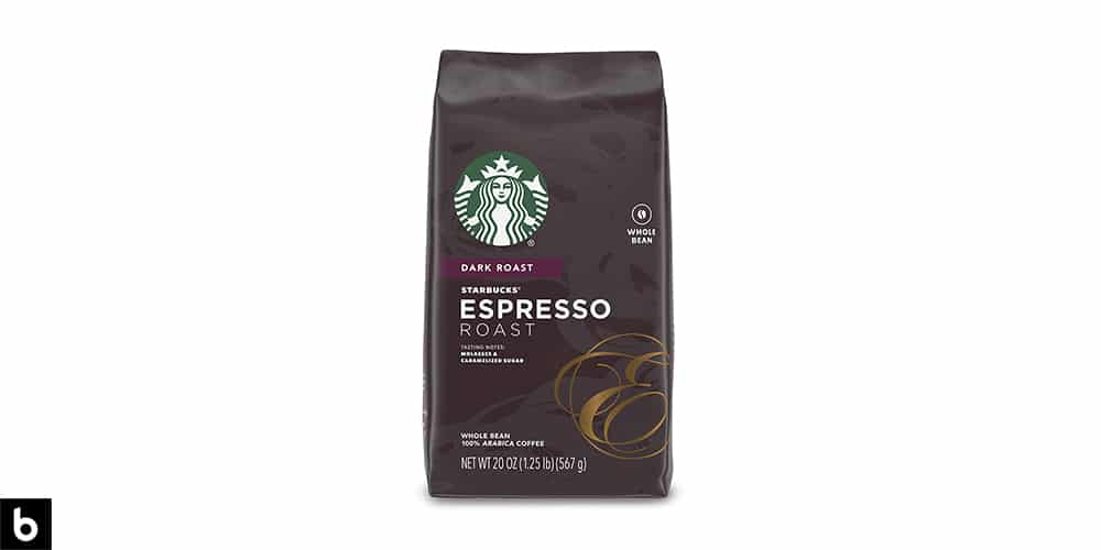 This is a brown-colored bag of Starbucks Espresso Dark Roast Coffee Beans overlaid on a white background.