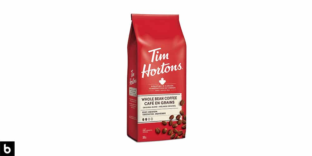 This is a picture of a bright red bag of Tim Hortons whole bean coffee. This is a Canadian staple, and a very recognizable brand.
