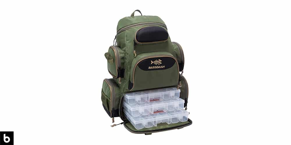 This is a product image for our Best Fishing Tackle Backpack 2021 article. It features a green and black BassDash fishing tackle backpack with large strorage compartments.