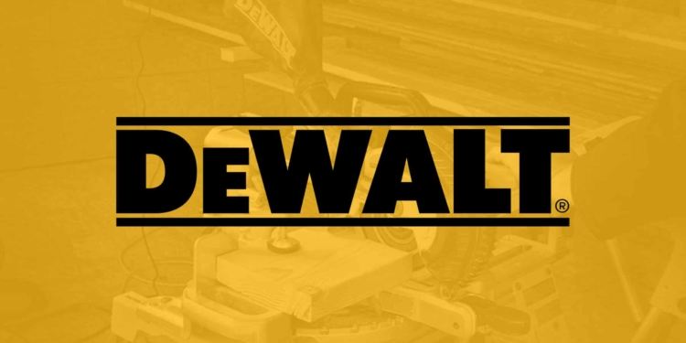 This is the cover photo for our Best Dewalt Miter Saw review article. It features a photo of a person cutting wood on a miter saw, mounted on a stand.
