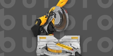 This is the cover photo for our Best Miter Saw article. It features a yellow and black Dewalt miter saw overlaid on a dark grey background with embossed Burbro logo.