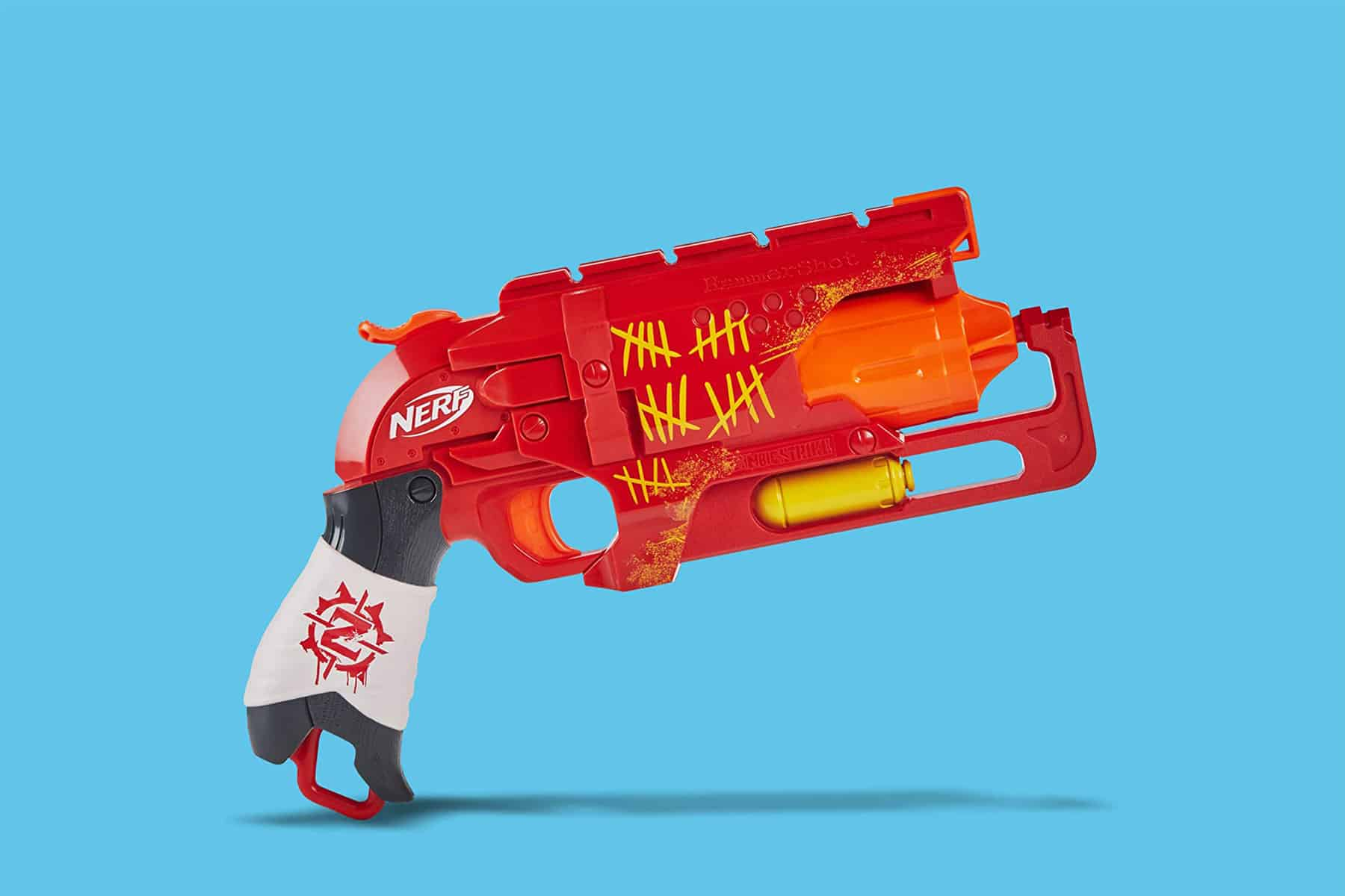 This is the cover photo for our Best Nerf Pistols article. It features a red, white, and orange Nerf pistols overlaid on a blue background.