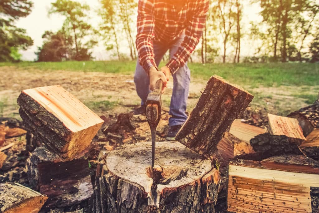 This is the photo for our Best Axe for Splitting Wood 2021 article. It features a photo of a man standing over a log with an axe chopping a log.