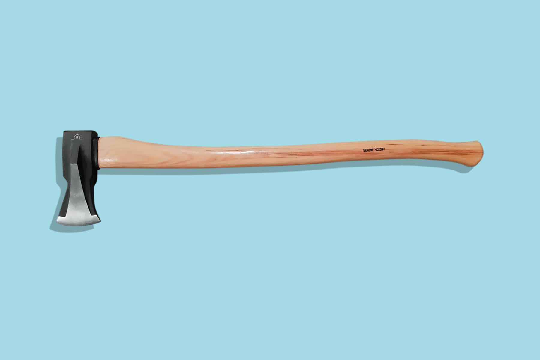 This is the cover photo for our Best Wood Splitting Mauls article. It features a wood maul with hickory handle overlaid on a blue background.