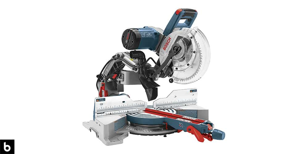 This is a product image, featuring a silver, red, and teal Bosch sliding miter saw.