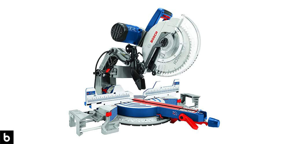 This is a product image for our Best Miter Saw 2021 article. It features a silver, red, and blue Bosch compound miter saw.