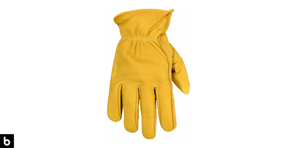 This is a product image, featuring a pair of yellow premium leather CLC goatskin work gloves.