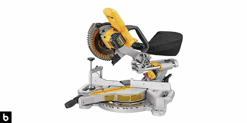 This is a product image, featuring a black and yellow DeWalt sliding compound miter saw.