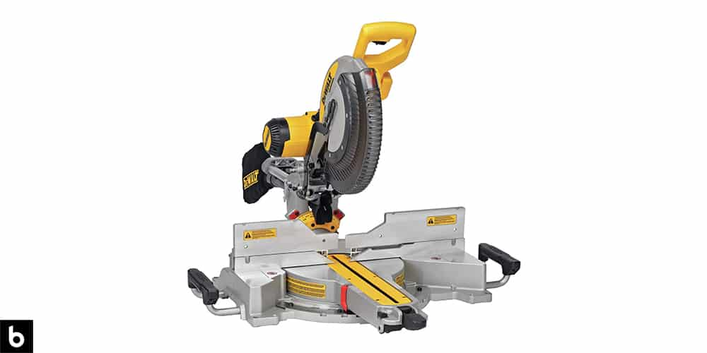 This is a product image for our Best Miter Saw 2021 article. It features a black and yellow DeWalt miter saw.