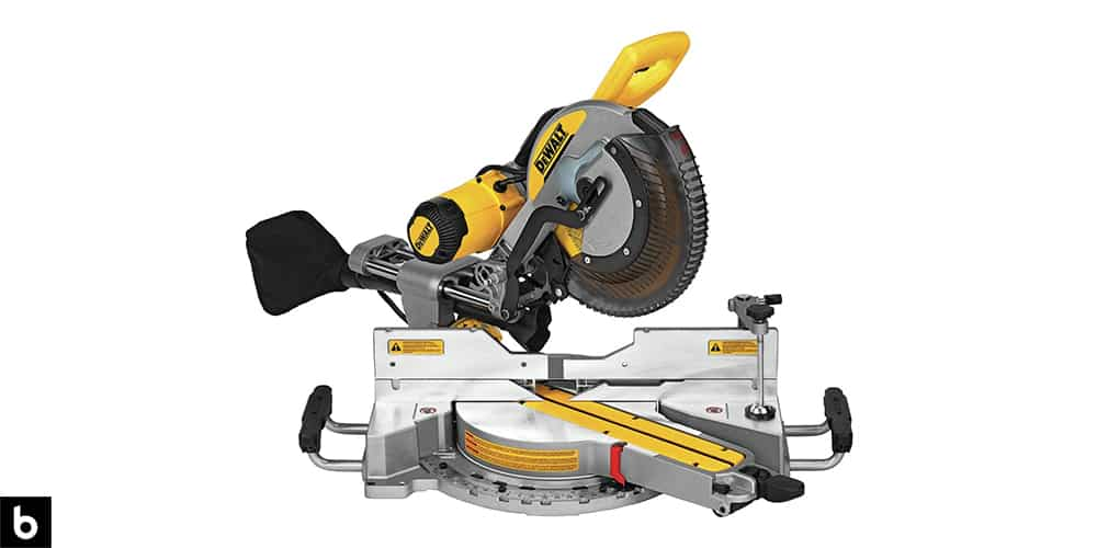 This is a product image, featuring a black and yellow DeWalt compound saw.