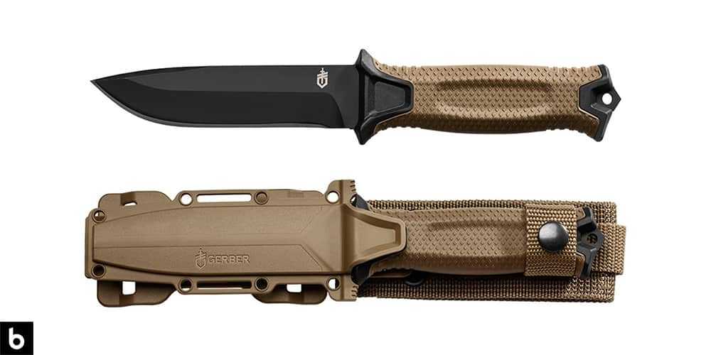 This is a product photo for our Best Tactical Combat Knives 2021 article. It features a Gerber Strongarm fixed blade tactical knife with a tan colored handle and sheath.