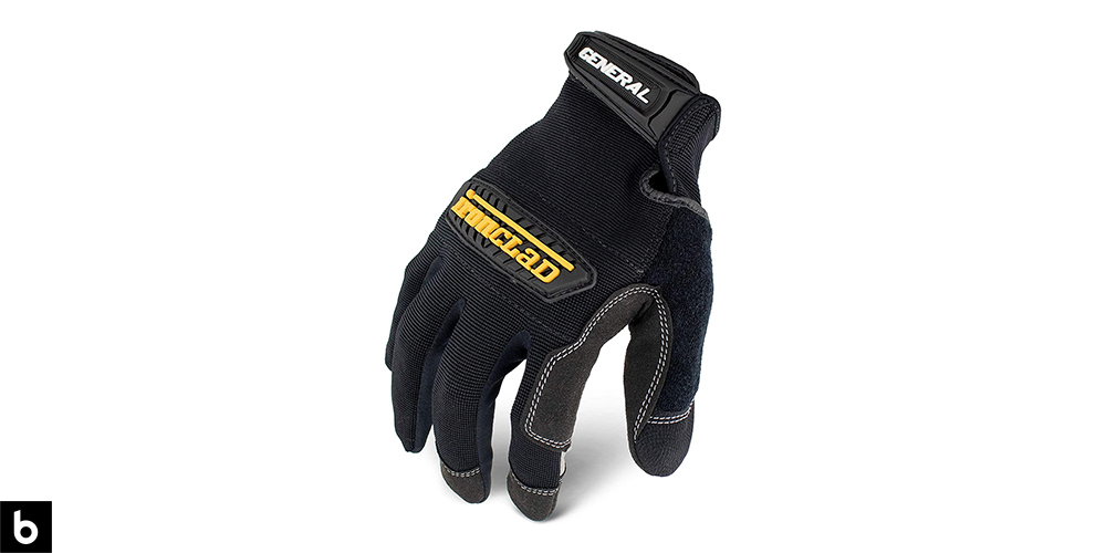This is a product image, featuring a pair of black Ironclad general utility work gloves.